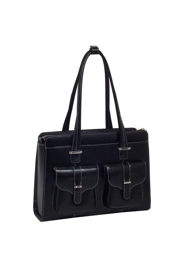 """MCKLEIN - Skórzana torba damska na laptopa 15,4"""" Mcklein Alexis 96545 czarna. Kolor: czarny. Wzór: aplikacja. Sezon: lato. Materiał: skórzane. Styl: klasyczny, elegancki. Rodzaj torebki: na ramię"""