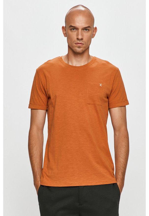 Brązowy t-shirt Clean Cut Copenhagen casualowy, na co dzień, z okrągłym kołnierzem