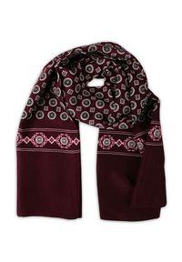 Czerwony szalik Alties na jesień, w geometryczne wzory, elegancki