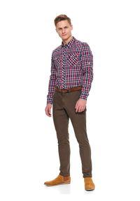 TOP SECRET - Spodnie strukturalne typu chino slim fit. Okazja: do pracy. Kolor: brązowy. Materiał: materiał. Sezon: wiosna #4