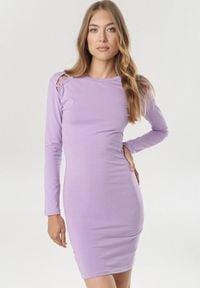 Born2be - Jasnofioletowa Sukienka Vivithia. Okazja: na co dzień. Kolor: fioletowy. Materiał: dzianina. Długość rękawa: długi rękaw. Styl: casual. Długość: mini