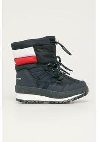 Niebieskie buty zimowe TOMMY HILFIGER z cholewką, z okrągłym noskiem, na zimę