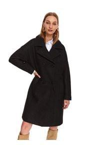 TOP SECRET - Dwurzędowy płaszczyk z wełną. Okazja: na co dzień, do pracy. Kolor: czarny. Materiał: wełna. Sezon: zima. Styl: casual