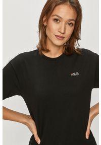 Czarna bluzka Fila z aplikacjami, na co dzień, casualowa