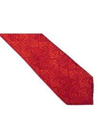 Modini - Czerwony krawat męski w paisley C24. Kolor: czerwony. Materiał: tkanina, mikrofibra. Wzór: paisley