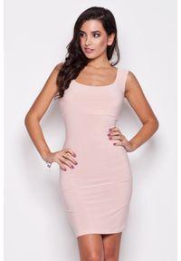 Różowa sukienka Katrus elegancka, bez rękawów