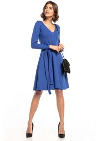 Tessita - Rozkloszowana Sukienka w Szpic - Chabrowa. Kolor: niebieski. Materiał: bawełna, poliester, elastan