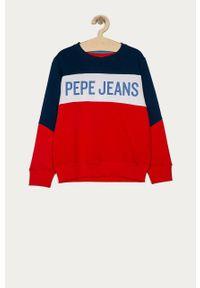 Czerwona bluza Pepe Jeans na co dzień, z nadrukiem, casualowa