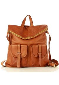 Torebka plecak 2w1 camel MARCO MAZZINI v139b. Wzór: paski. Materiał: skórzane. Styl: vintage. Rodzaj torebki: na ramię