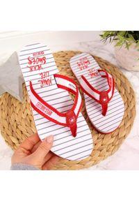Big-Star - Japonki damskie plażowe czerwone Big Star DD274A249. Okazja: na plażę. Kolor: czerwony. Materiał: materiał. Wzór: paski. Styl: elegancki