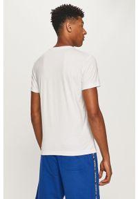 Biały t-shirt Diesel z okrągłym kołnierzem, na co dzień, z nadrukiem