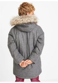 Szara kurtka bonprix melanż, z kapturem, długa