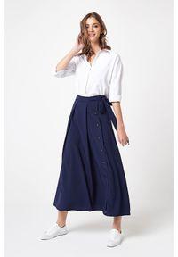 e-margeritka - Długa elegancka spódnica granatowa - s. Kolor: niebieski. Materiał: poliester, wiskoza, materiał, elastan. Długość: długie. Wzór: aplikacja. Styl: elegancki