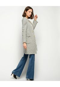 Pinko - PINKO - Tweedowy płaszcz w pepitkę Bieco. Okazja: na co dzień. Kolor: czarny. Materiał: jeans, bawełna. Styl: casual