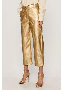 Złote spodnie materiałowe Pinko z podwyższonym stanem, klasyczne