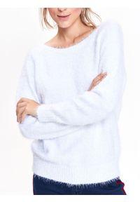 Biały sweter TOP SECRET z dekoltem w serek, długi, z długim rękawem, elegancki