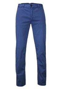 Ranir - Niebieskie Eleganckie, Męskie Spodnie, BAWEŁNA -RANIR- Chinosy. Kolor: niebieski. Materiał: lycra, bawełna. Styl: elegancki
