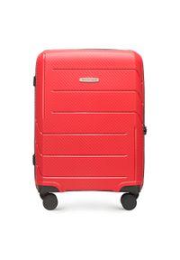 Czerwona walizka Wittchen w geometryczne wzory, biznesowa