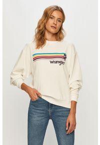 Biała bluza Wrangler casualowa, długa, z nadrukiem