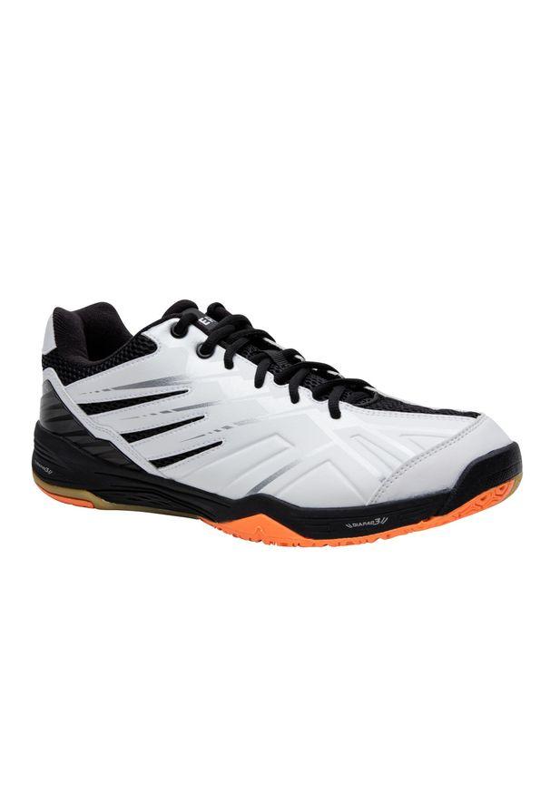 PERFLY - Buty do badmintona BS590 Max Comfort. Kolor: pomarańczowy, czerwony, biały, wielokolorowy. Materiał: mesh, kauczuk. Szerokość cholewki: normalna