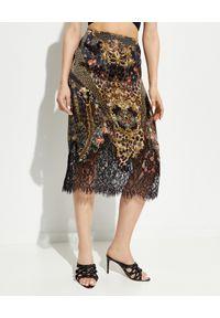 Camilla - CAMILLA - Jedwabna spódnica midi. Kolor: czarny. Materiał: jedwab. Wzór: aplikacja, koronka