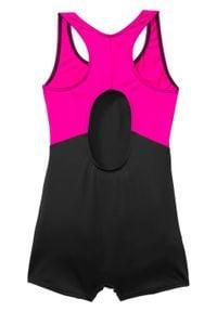 Kostium kąpielowy dziewczęcy bonprix czarno-różowy. Kolor: czarny. Materiał: poliester, poliamid, materiał, elastan #3