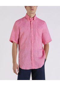 PAUL & SHARK - Lniana koszula z krótkim rękawem. Typ kołnierza: button down. Kolor: czerwony. Materiał: len. Długość rękawa: krótki rękaw. Długość: krótkie. Wzór: haft. Sezon: lato. Styl: klasyczny
