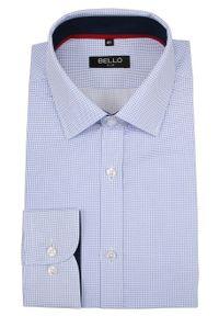 Niebieska elegancka koszula Bello długa, do pracy, z długim rękawem