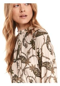 Beżowa sukienka TOP SECRET koszulowa, paisley