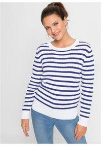 Niebieski sweter bonprix w paski, z długim rękawem, z kokardą, długi