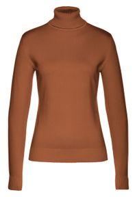 Brązowy sweter bonprix z golfem, długi, z długim rękawem