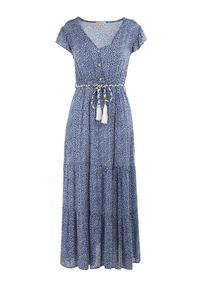 Born2be - Niebieska Sukienka Tudanna. Typ kołnierza: dekolt w kształcie V. Kolor: niebieski. Materiał: tkanina, materiał. Wzór: kwiaty, ażurowy, aplikacja. Długość: maxi