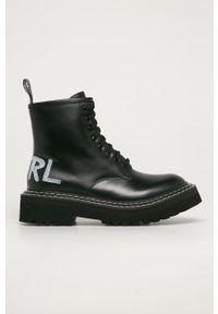 Czarne botki Karl Lagerfeld klasyczne, z okrągłym noskiem