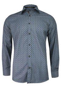 Niebieska elegancka koszula Grzegorz Moda Męska w geometryczne wzory, z długim rękawem, długa, na spotkanie biznesowe