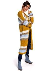 MOE - Niezapinany Kardigan w Kolorowe Paski. Materiał: akryl. Wzór: kolorowy, paski