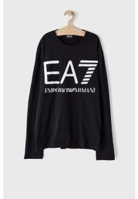 EA7 Emporio Armani - Longsleeve. Okazja: na co dzień. Kolor: czarny. Długość rękawa: długi rękaw. Wzór: nadruk. Styl: casual