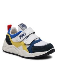 Primigi - Sneakersy PRIMIGI - 7385033 M Nav. Okazja: na spacer, na co dzień. Zapięcie: rzepy. Kolor: biały. Materiał: skóra, zamsz, materiał. Styl: casual