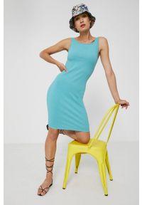 medicine - Medicine - Sukienka Essential. Okazja: na co dzień. Kolor: turkusowy. Materiał: bawełna, dzianina, włókno. Typ sukienki: proste. Styl: casual