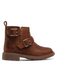 Brązowe buty zimowe Clarks z aplikacjami
