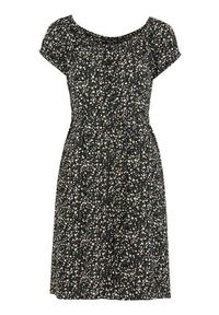 Czarna sukienka Happy Holly na lato, w kwiaty, z krótkim rękawem