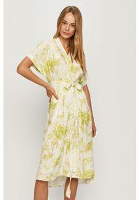 Żółta sukienka AllSaints casualowa, prosta, na co dzień