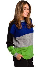 MOE - Klasyczny Sweter w Kolorowe Pasy - Model 3. Materiał: wełna, poliester. Wzór: kolorowy. Styl: klasyczny