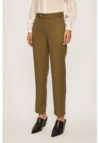 Zielone spodnie materiałowe Pepe Jeans casualowe, z podwyższonym stanem, na co dzień