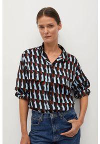 Niebieska koszula mango długa, z klasycznym kołnierzykiem, casualowa, na co dzień