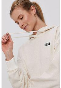 Kremowa bluza adidas Originals z aplikacjami, długa, z kapturem, z długim rękawem