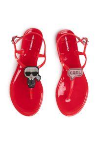 Czerwone sandały Karl Lagerfeld casualowe, na co dzień, z aplikacjami