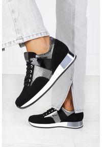 Kati - Czarne sneakersy kati buty sportowe sznurowane polska skóra 7003/8. Kolor: czarny. Materiał: skóra