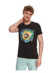 TOP SECRET - T-shirt z nadrukiem. Okazja: do pracy. Kolor: czarny. Materiał: bawełna, tkanina. Długość rękawa: krótki rękaw. Długość: krótkie. Wzór: nadruk. Sezon: lato. Styl: wakacyjny