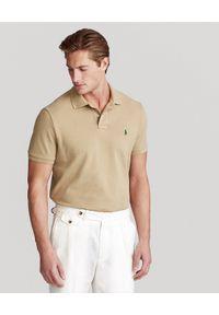 Ralph Lauren - RALPH LAUREN - Beżowa koszulka polo Mesh Classic Fit. Typ kołnierza: polo. Kolor: beżowy. Materiał: mesh. Wzór: haft #6