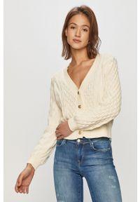 Kremowy sweter rozpinany Vero Moda na co dzień, casualowy